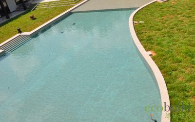 A lagoon size and beautifully shaped swimming pool in a luxurious bungalow