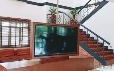 Turn it all around – TV built in with a rotating carpentry frame